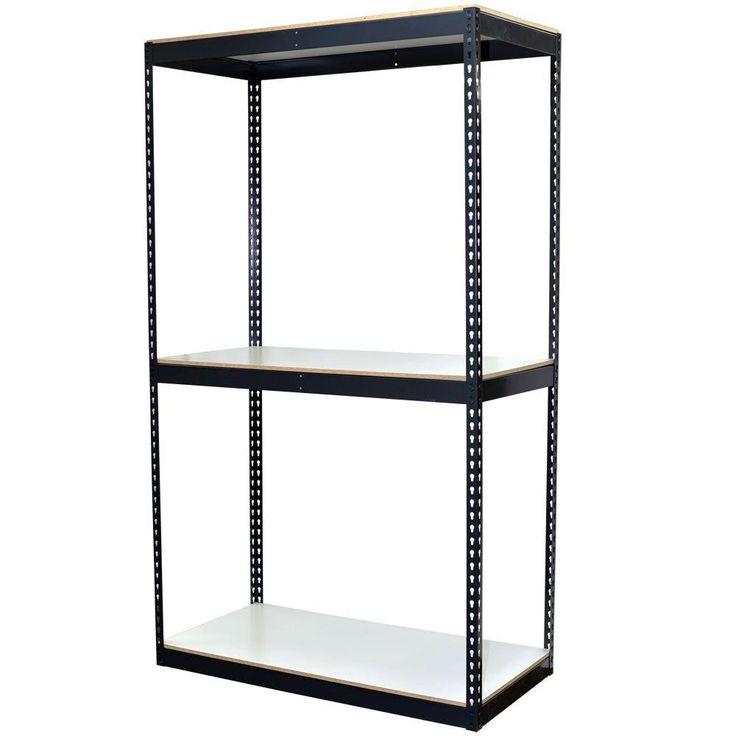 72 in. H x 48 in. W x 24 in. D 3-Shelf Bulk Storage Steel Boltless Shelving Unit w/Double Rivet Shelves & Laminate Board, Powder Coated Steel Color Gray