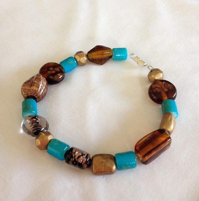Gold, Brown and Blue coloured Bracelet - by SunshineJewellery on madeit