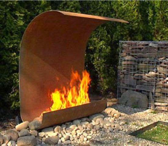 Modern Outdoor Fireplace. Wow!