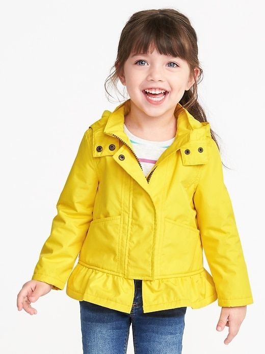 ef39ea344 Water-Resistant Peplum Rain Jacket for Toddler Girls | for our ...