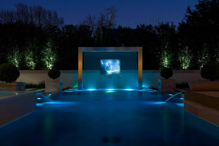 modern pool water screen pojection tv outdoor tv fountain raised planter of Getting Inspired by 10 Stunning Ideas of Modern Swimming Pool