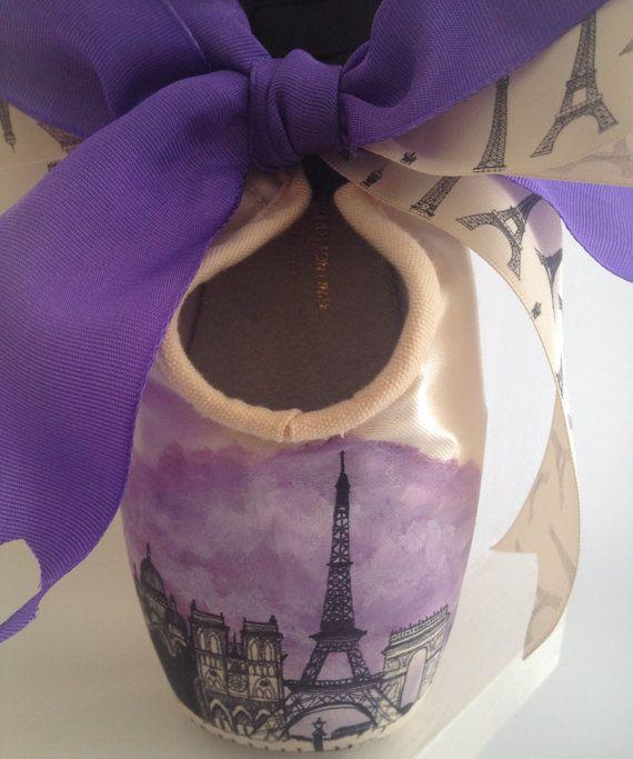 Custom City Skyline Handpainted Pointe Shoe by BalletInTheCity