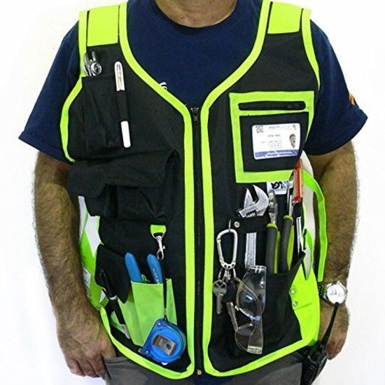 Electrician Carpenter High Visibility Tool Vest Construction Craftman Plumber  #JORESTECH