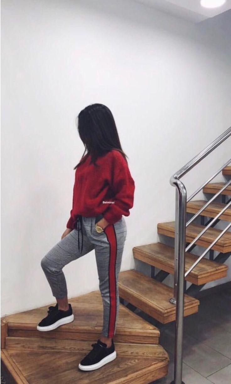 red hoodie / sweatshirt red striped pants …