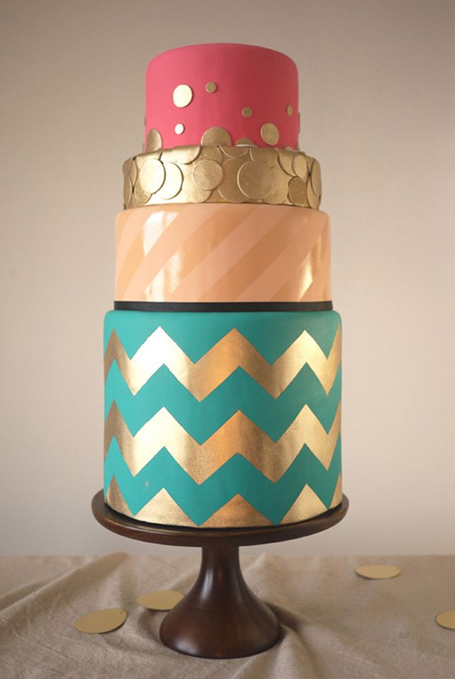 how fun is this cake?: Polka Dots, Color, Charms Cities Cakes, Chevron Wedding Cak, Wedding Cakes, Gold, Chevron Stripes, Chevron Cakes, Birthday Cakes
