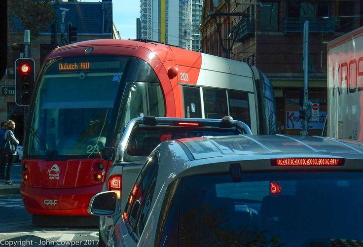 LRV2123 turns into Hay Street from the Pitt Street ramp.