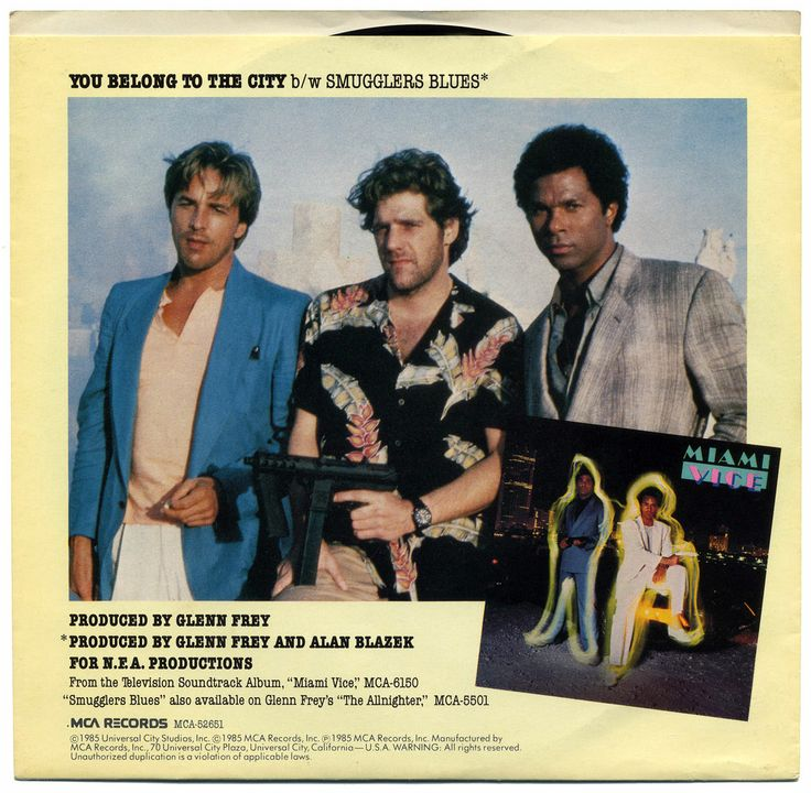 """Glenn Frey """"You Belong to the City"""" / """"Smugglers Blues"""" (1985) from the Miami Vice TV Soundtrack — 45 rpm Record Sleeve"""