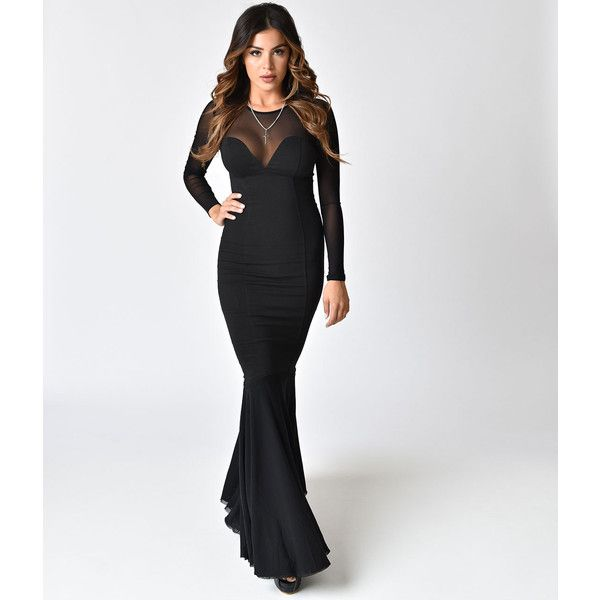 Collectif Black Fishtail Morticia Wiggle Gown ($88) ❤ liked on Polyvore featuring dresses, gowns, black, fishtail gown, sleeve evening dress, plunge evening gown, plunge gown and mesh sleeve dress