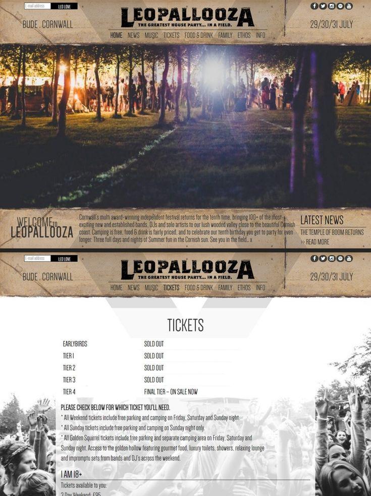 Festival Website Design for Leopallooza, Cornwall