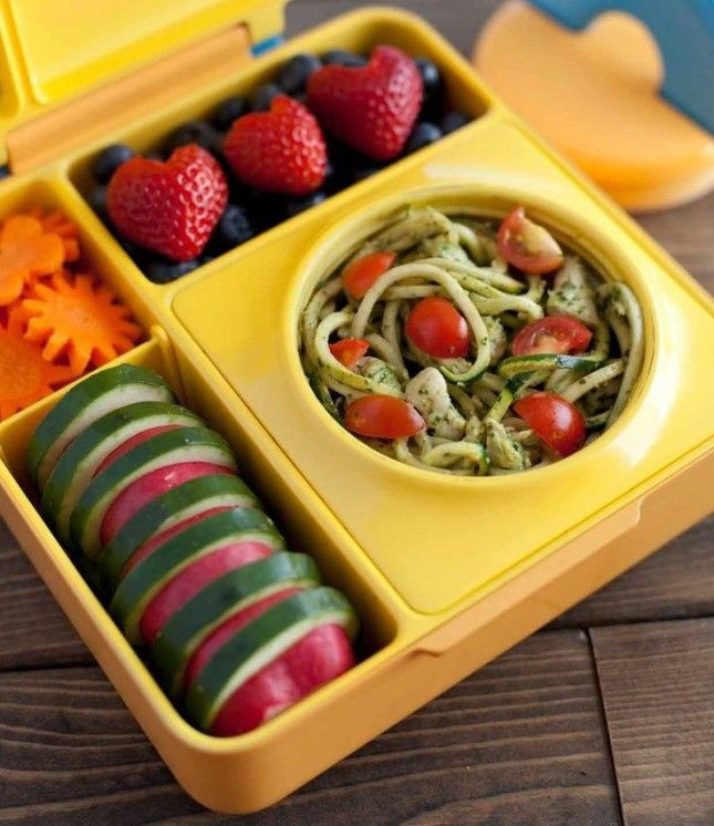 Spice Up Your Lunch Routine With These 16 Bento Box Ideas | Brit + Co | Pesto Noodle Bento: Want to eat a warm lunch, but don't have any way to heat it up? Buy a box like the one above. It will keep your pesto pasta hot until it's time for grubbing. Hot and cold lunch is served in one little box.
