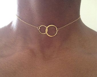 Gold Choker Necklace Gold Druzy Necklace Gold di PABJewellery