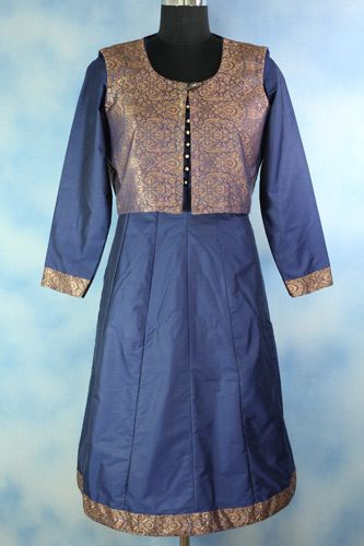 Silk Blue Anarkali With Jacket, Silk Anarkali, long sleeves with contrast panelling at the cuffs.