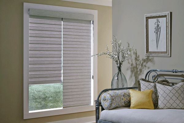 Allure Couplitaire™ ~A transitional shade to the room side and a room darkening roller shade to the street side to give you ultimate privacy and light control. #windowcoverings #windowtreatments #blinds