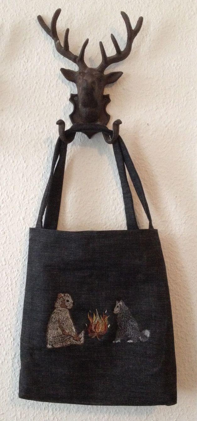 Black embroidery Tote Bag #Dawanda #tote bag #machine embroidery #BonitoFracaso #camping