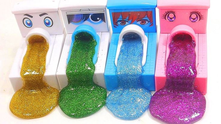 Glitter Colors Slime Poop Japanese Toilet Learn Colors Slime Clay Play D...