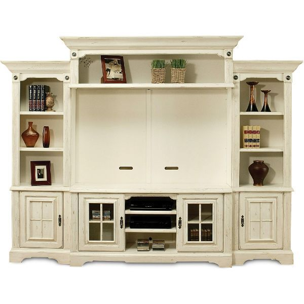 Highland Manor White 5 Piece Entertainment Wall Unit