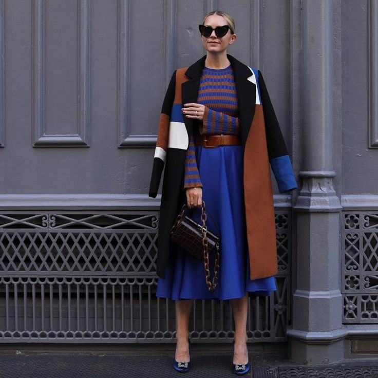 The various patterns in cognac and royal blue are stunning
