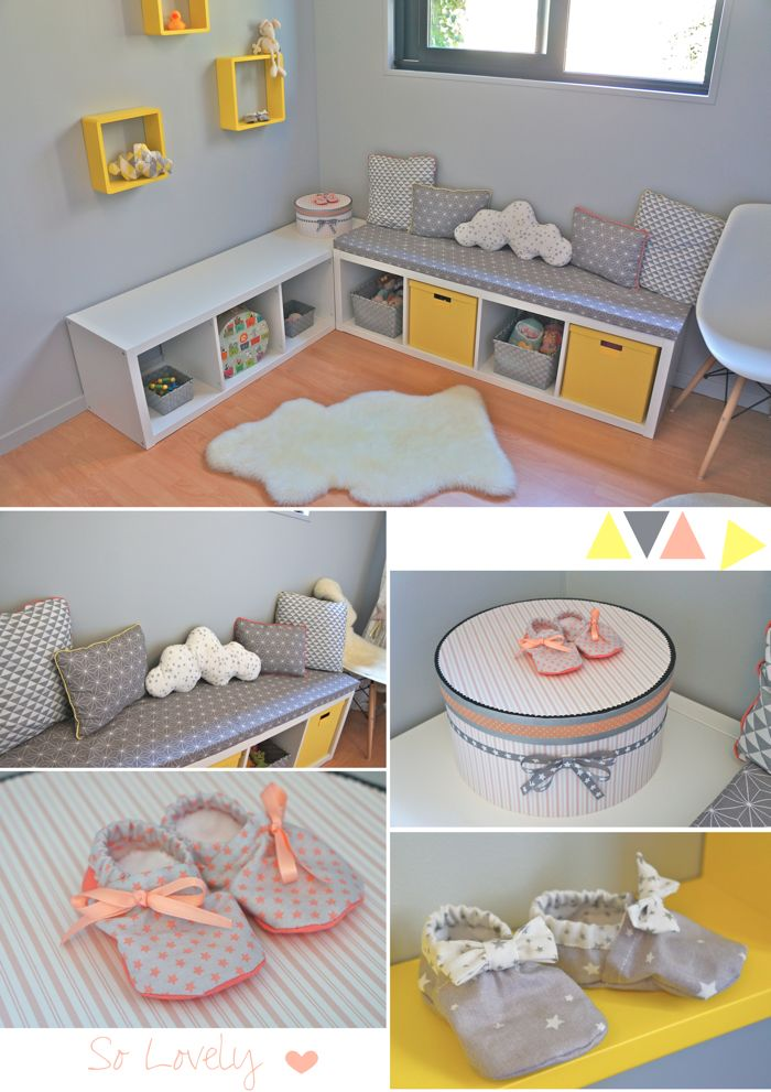 Nursery baby girl room in yellow grey coral chambre b b fille en jaune gris et corail for Idee deco chambre bebe grise