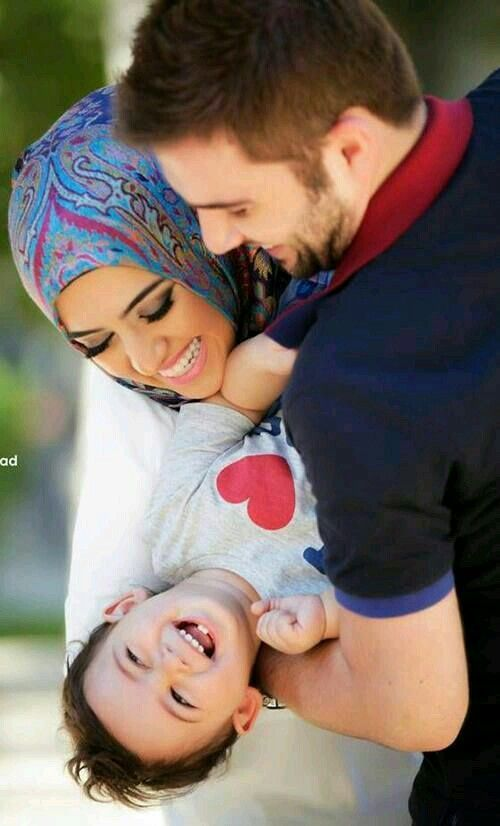 Cute muslim family