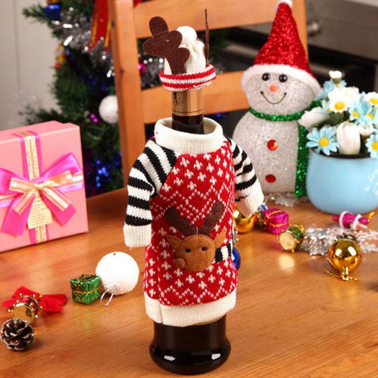 1 set Happy New Year Christmas Decoration Red Wine Bottle Covers Clothes With Hats For Home Dinner Party Or Gift
