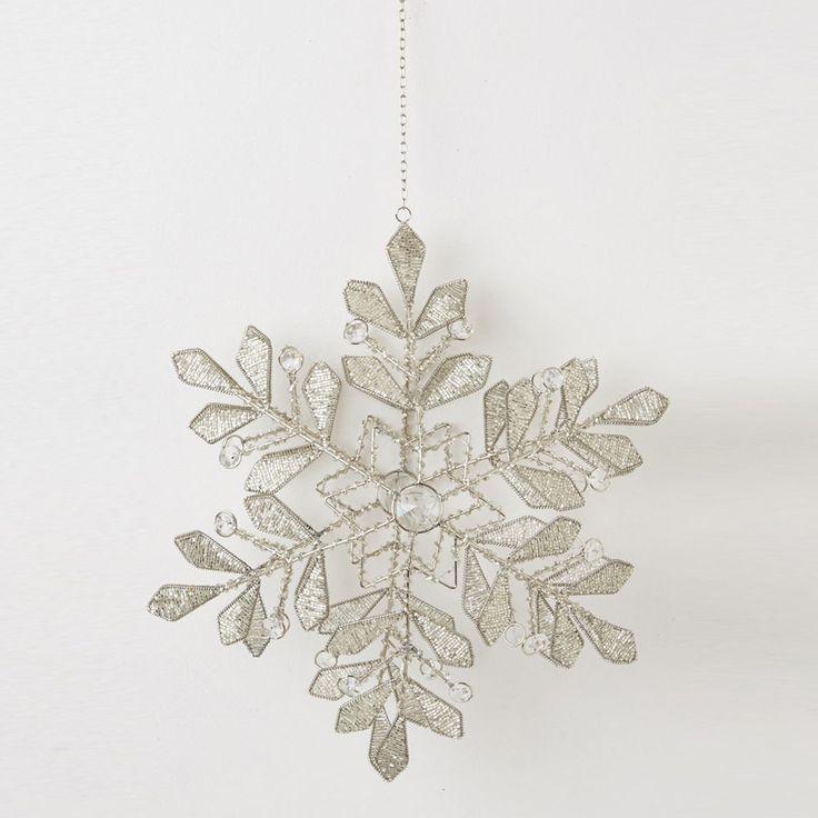 Snow Crystal Hanger Beaded Crossed Star - Dare Gallery
