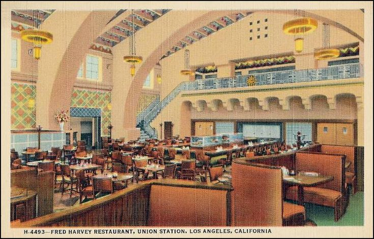 This vintage postcard depicts one of the many Historic Harvey House Restaurants. Find Postcards like this one, along with authentic Harvey House Restaurant China at P.O.S.H. Chicago