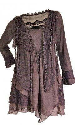 Pretty Angel Clothing Layered Vintage Blouse In Mauve
