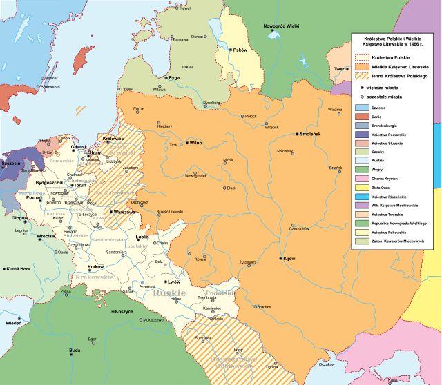 Królestwo Polskie i Wielkie Księstwo Litewskie w 1466 r. - Kazimierz IV Jagiellończyk –