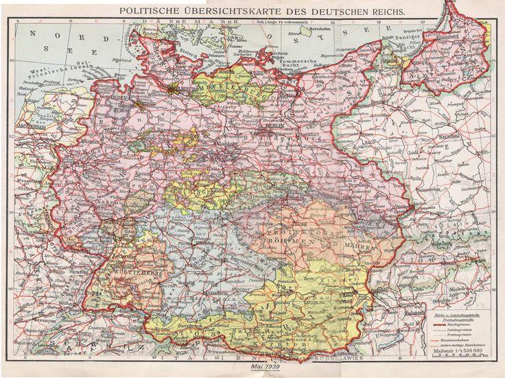 Politische übersichtskarte des Deutschen Reichs 1939