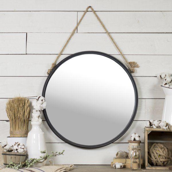 Anupam Beveled Distressed Accent Mirror Round Hanging Mirror