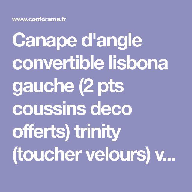 Canape d'angle convertible lisbona gauche (2 pts coussins deco offerts) trinity (toucher velours) vert 5902860480051 - Vente de BOBOCHIC - Conforama