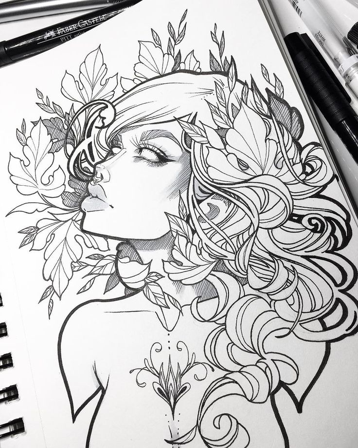 Finished this lass yesterday • today it snowed in Vancouver for the first time since... I can't remember when ❄️ It was really pretty but I think it's slush now  What's the weather like where you live?  #art #graphicartery #sketch #drawing #ink #tattoo #sketchbook #draw #illustration #myart #artcollective #tattoos #witch #instaart #artist #artistsoninstagram