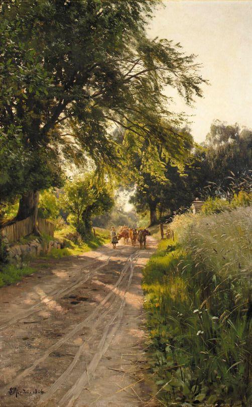 Returning Home, Hellebæk, 1906, Peder Mørk Mønsted