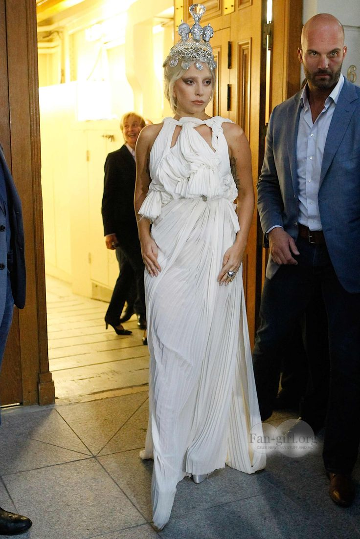 Lady Gaga looking regal leaving hotel Grande Bretagne to perform at a concern at stadium OAKA in Athens.