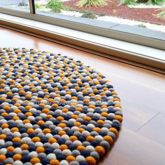 blue and orange bath mat