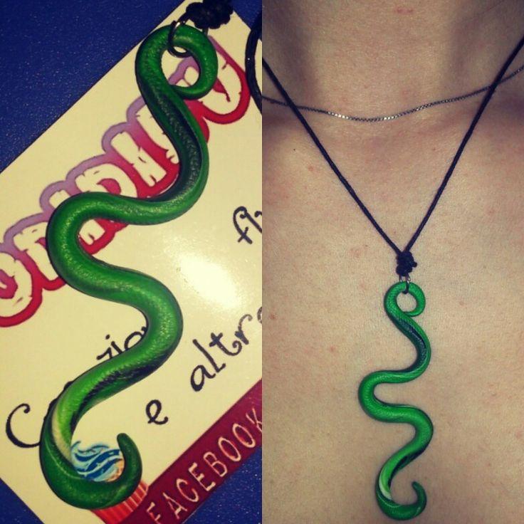 Collana serpente ciondolo charm Green strisciare bodidibu corda laccetto pasta polimerica fimo necklace snake handmade fatto a mano creazione