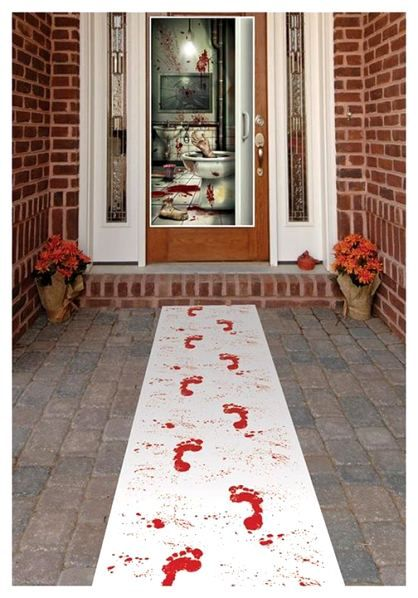 Bloody Halloween Door Decor although I'd have the steps running away from the house.