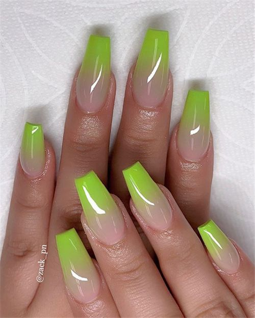 Chic Ombre Coffin Nails Designs In Summer