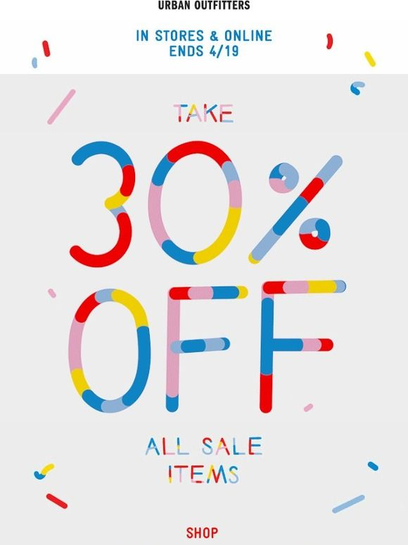 It starts today: 30% Off Sale Items - Urban Outfitters