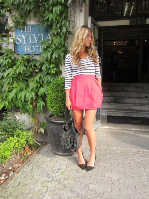 : Fashion Outfit, Pink Skirts, Spring Summ, Bold Color, Stripes Tops, Tulip Skirts, Cute Outfit, Cute Skirts, Pink Tulip