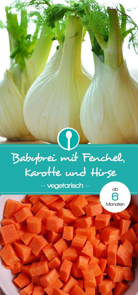 Vegetarischer Babybrei mit Fenchel, Karotte und Hirse. Der Mittagsbrei ist ab 6 Monaten geeignet. Fenchel hat nicht nur als Tee, sondern auch als Gemüse die Eigenschaft, wohltuend und sehr bekömmlich für Babys Bauch zu sein. Zusammen mit Karotten schmeckt der Fenchel-Karottenbrei sehr mild und süßlich und kommt daher gut bei Babys an. Dieser Mittagsbrei ist vegetarisch, bekommt aber durch die Zugabe von Hirseflocken das nötige Eiweiß und Eisen.