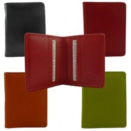 New Genuine Full Grain Leather Mens Womens Multi Colors Slim Card Wallet CH-358
