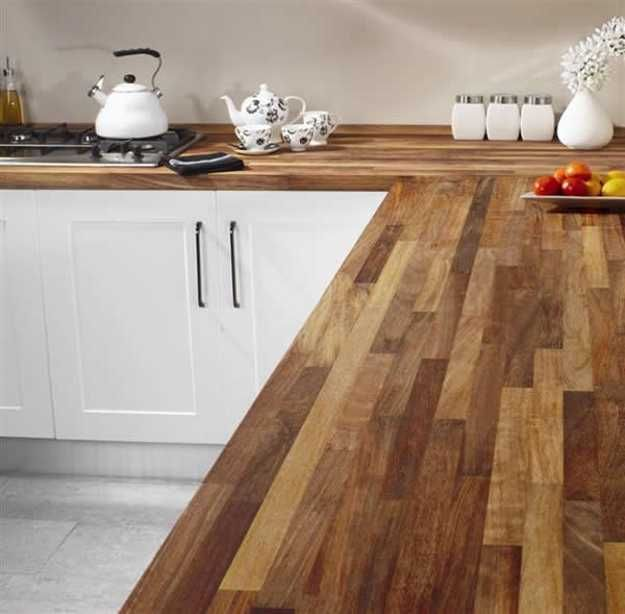wood kitchen countertops and white cabinets I love this, I'd definitely stain the wood a dark colour! <3