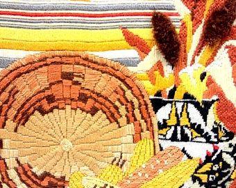 Mid Century Southwestern Framed Yarn art