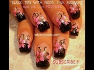 HOT PINK FLOWERS with BLACK FRENCH TIPS: robin moses nail art design tutorial
