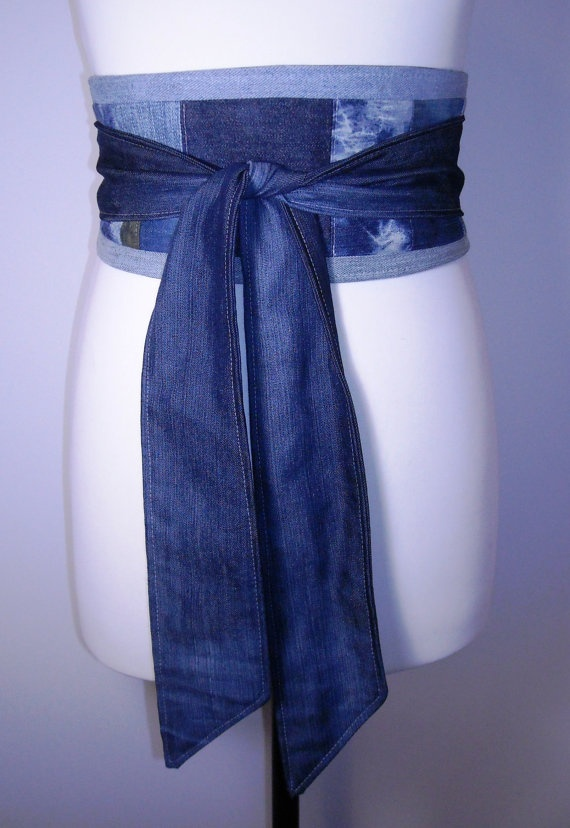 Upcycled denim obi -- reinforced pass-through for back wrap. I would bone it.