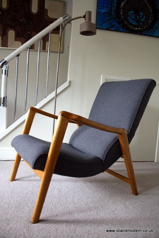 Great Vintage 1950s E Gomme G Plan Mid Century Grey Wool Sculptural Lounge Arm  Chair