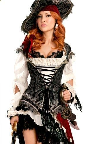 okay i really really really REALLY want this pirate costume. so many of my loves in one bundle! lace, black, white, red, flowy ripped skirts, corset, did i mention lace? split sleeves, hat at a rakish angle, and hello, PIRATE! does anything more need to be said?