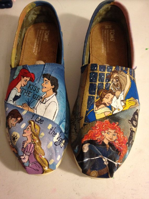 Custom Hand-Painted Shoes: Disney Princesses - Okay I love how  Belle, Rapunzel, and Ariel have their princes and it's all romantic, and then there's Merida XD