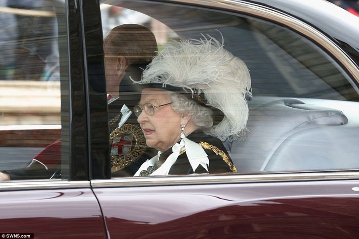 Relentless schedule: The Queen and Prince Philip were pictured arriving for the annual Garter Day service at Windsor Castle today